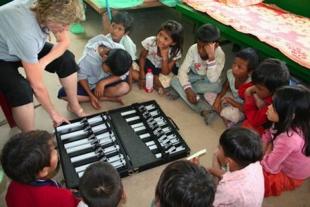 Cambodian orphans discover handchimes